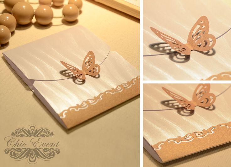 Wedding invitation card on colored cardboard.