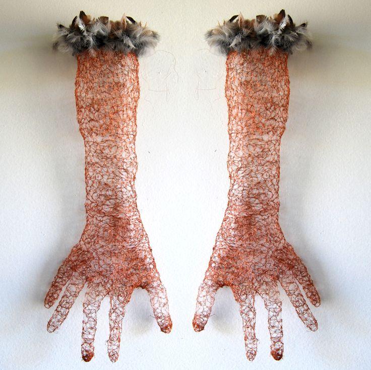 Mimi Dennett-Bird Song-homage by a gentle lunatic. 2014. copper wire, Australian bird feathers from the roadside. http://mimidennettart.blogspot.com.au/