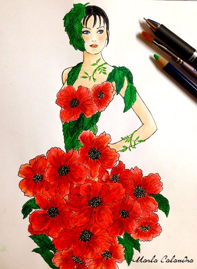 Coming up Poppies (from the Fashion Floral Fantasy Design Collection) Artwork by Marla Calandra, Inktense pencils.