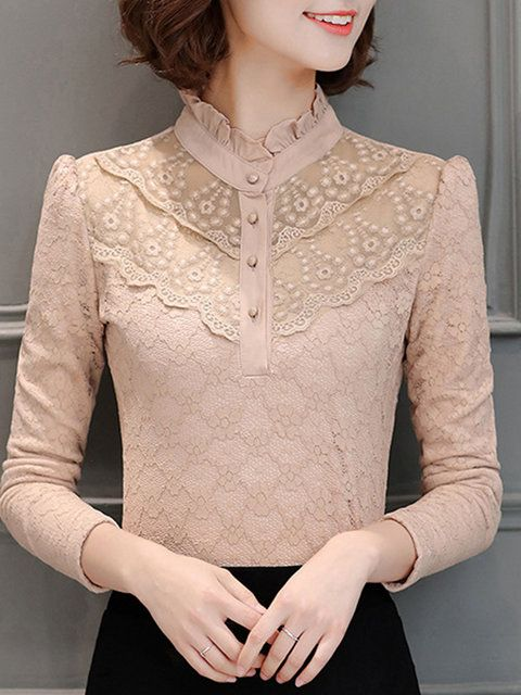0f1b34bbd08492 Buttoned Ruffled Long Sleeve Elegant Lace Blouse in 2019