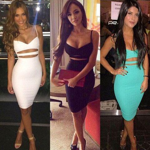 Spaghetti Strap Cut Out Women Bandage Dress | Daisy Dress for Less | Women's Dresses & Accessories