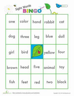 Preschool Sight Words Printable Board Games Worksheets: Sight Words Game Worksheet
