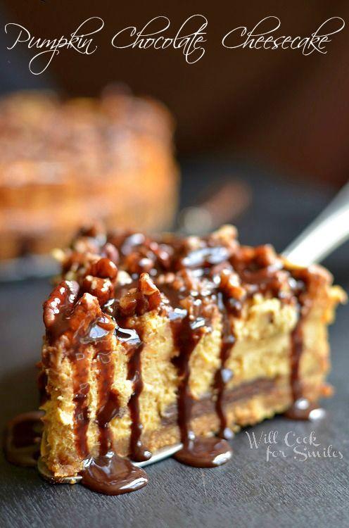 Pumpkin Chocolate Cheesecake  (c) willcookforsmiles.com #pumpkin #cheesecake #chocolate