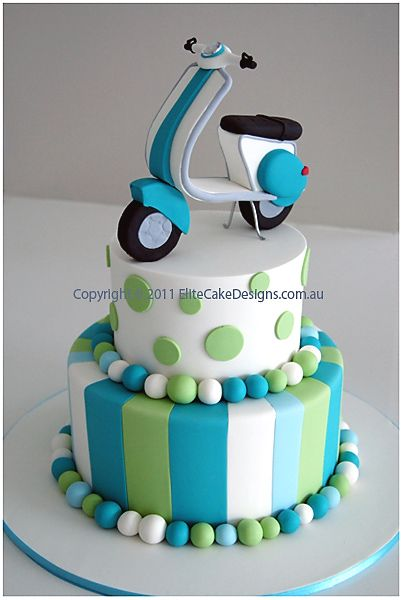 #Scooter 2 #Tier #Cake with #Stripes & #Polka #Dots! We love and had to share! Great #CakeDecorating