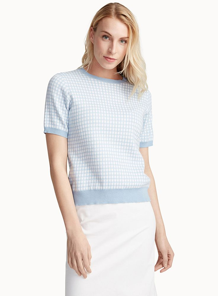 Exclusively from Contemporaine - Small feminine two-tone checks in this spring's trendy high-contrast look - Short-sleeve crew-neck T-shirt style with a straight fit - Very comfortable 100% organic cotton knit, ribbed trim The model is wearing size small