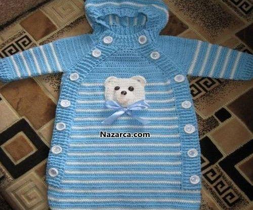 Örgü Yeni doğan Bebek Uyku Tulumu. Resimli anlatımlı Örme Uyku Tulumu Bebek arabası ve Pusetin içine Bebeği sıcak tutması için de kullanabilirsiniz. Tığla örülen Örgü Bebek Tulumu tüm detayları ile…