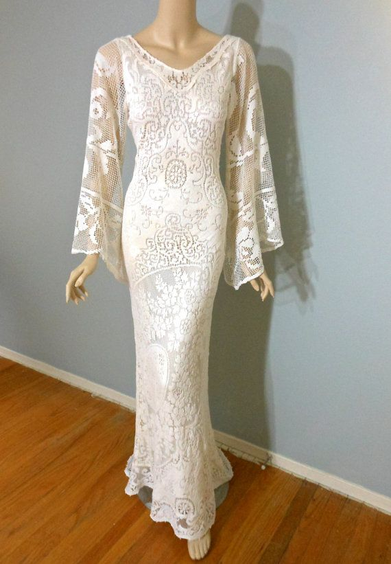 Bohemian Wedding Dress Cream Backless Lace Wedding By