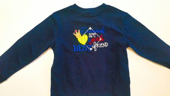 Girls Softball Shirt - Softball Sayings - Softball Diamond - Diamonds Best Friend - Softball Team Shirt - Softball Gift - Embroidered Shirt by fabuellaboutique. Explore more products on http://fabuellaboutique.etsy.com