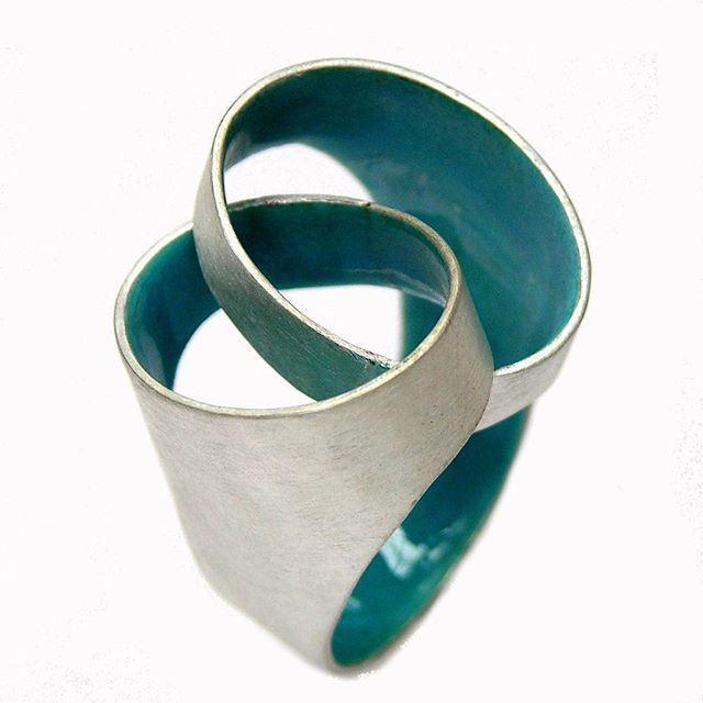 ring in Silver and enamel by Carola Bauer.