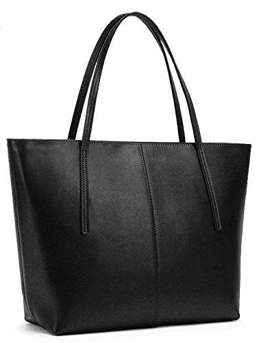 Obosoyo Women's Handbag Genuine Leather Tote Shoulder Bags Soft Hot Black