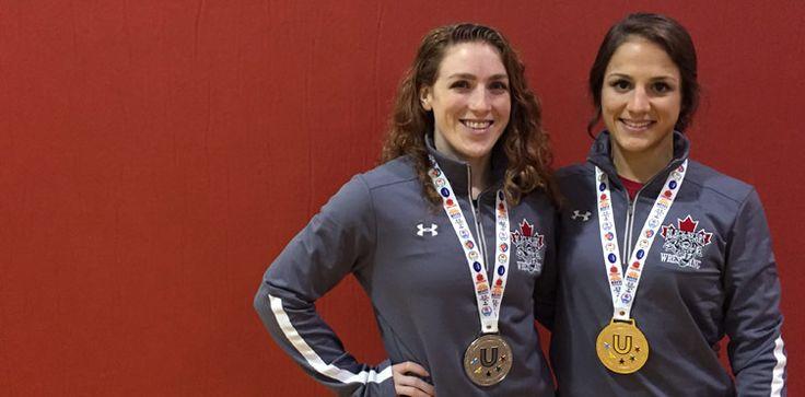 Samantha Stewart and Allyssa Cleaves | Wrestling | Sam Stewart Wrestling | FISU | University World Championships | UNB | Alumni News | University of New Brunswick | Varsity Reds