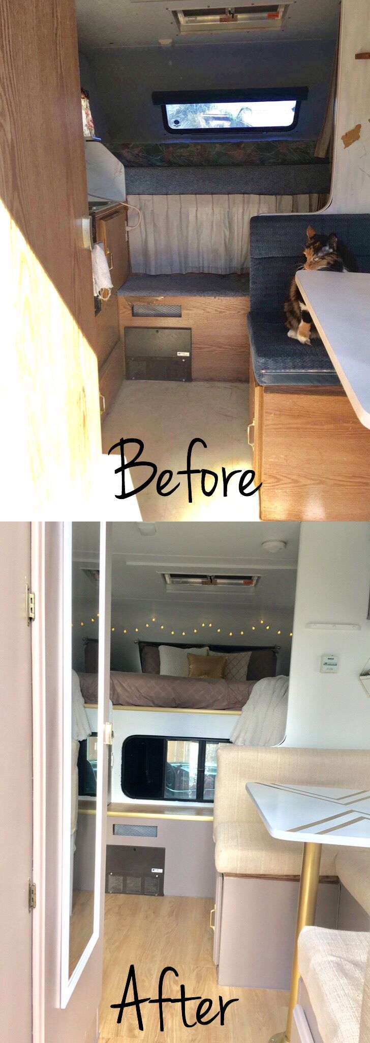 Truck camper trailer remodel before and after @insta_sara