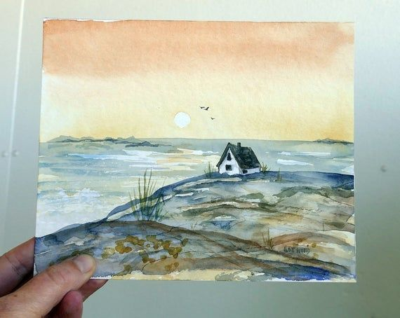 Sunset By The Sea Watercolor Original Painting By Artist Ilse