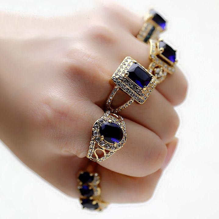 רויאל רטרו נוצץ גדול כיכר סגלגלה סימולציה ספיר הכחול CZ נשים טבעת יהלום אירוסין תכשיטי חתונה מצופה זהב