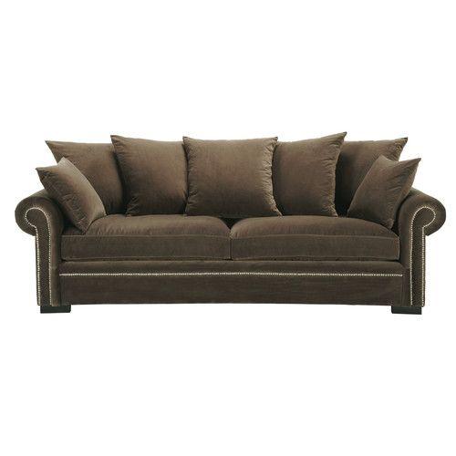 Canapé 4 places en velours brun