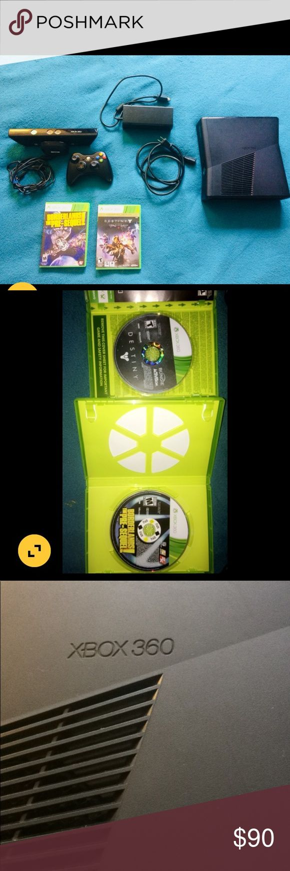 Xbox 360 bundle This bundle includes: -Xbox 360 slim -Kinect  -1 controller  -power cord -2 videogames (borderlands presequel and destiny )  ***Does not come w/ HDMI cord*** xbox Other #xbox360
