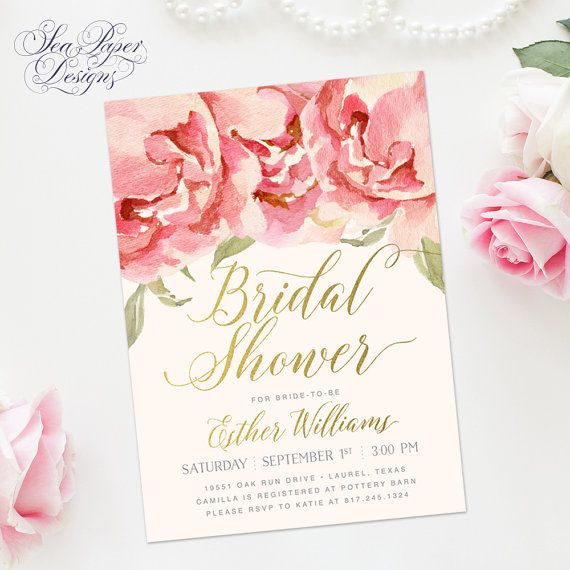 Blush Pink & Peach Roses and Peonies Floral Bridal Shower Invitation with Gold Foil Calligraphy Lettering.