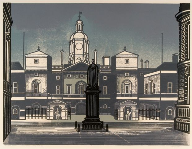 Lovely stuff from illustrator and graphic designer Edward Bawden - The Horse Guards, 1966, linocut.