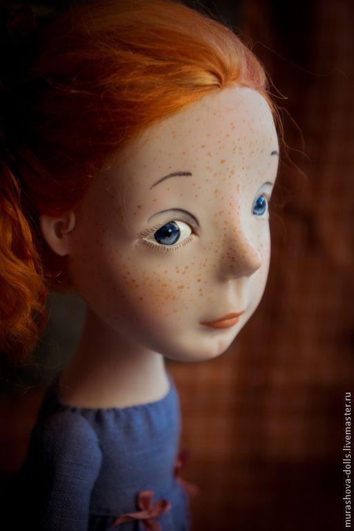 Купить Рыжая в голубом - синий, девочка, авторская кукла, ручная работа, любить и жаловать