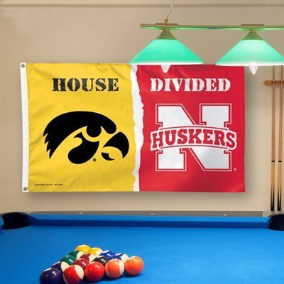 Nebraska Cornhuskers vs Iowa Hawkeyes WinCraft Deluxe 3' x 5' House Divided Flag