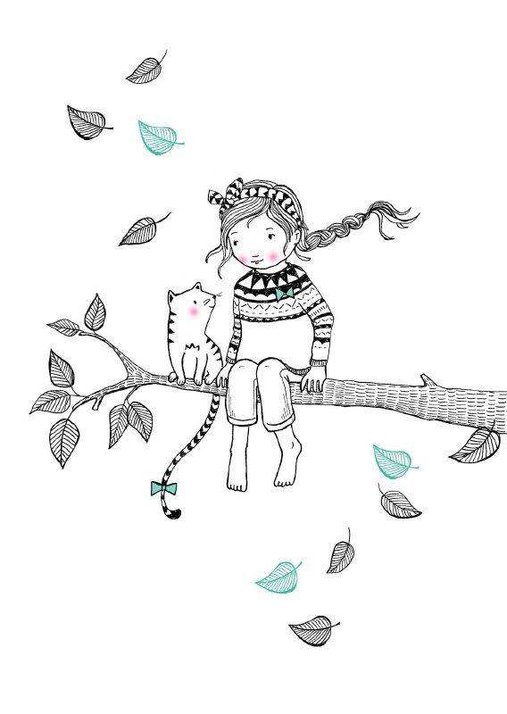 Marieke ten Berge 'Kaart Tree Girl' #petitelouise