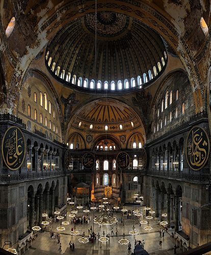 Inside Hagia Sophia, Istanbul - Turkey - is a great architectural beauty and an important monument both for Byzantine and for Ottoman Empires. Once a church, later a mosque, and now a museum at the Turkish Republic, Hagia Sophia has always been the precious of its time.