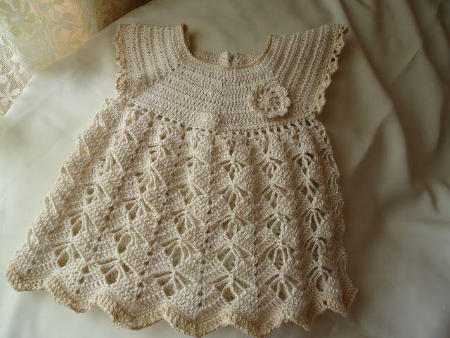 MIL AZAHARES BLANCOS: Vestidito de niña en algodón a crochet (de 0 a 3 meses):
