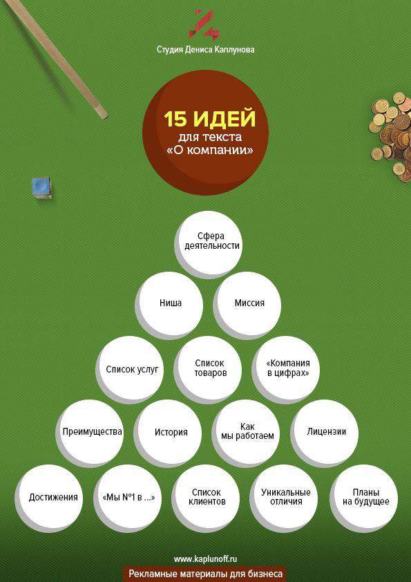 ЧЕК-ЛИСТ: 15 идей для текста о вашей компании — Студия копирайтера Дениса Каплунова