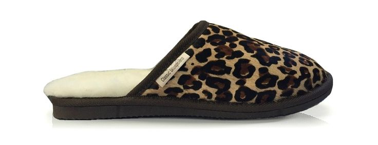 The perfect Leopard print slipper. The Leopard Clara slips on and off easily is made from beautiful dyed natural cowhide paired with cosy sheepskin to keep you super comfortable and sleek.   www.classicsheepskins.com