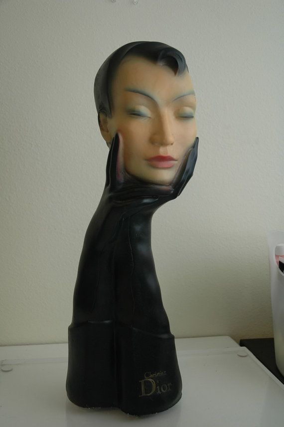 Christian Dior Mannequin Head Bust for Eye Glasses or Hats 1930 thru 1950 Antique Mod Statue Mid Century Modern
