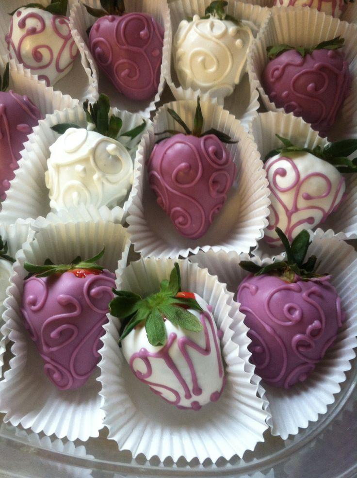 Chocolate covered strawberries #designed #purple #white