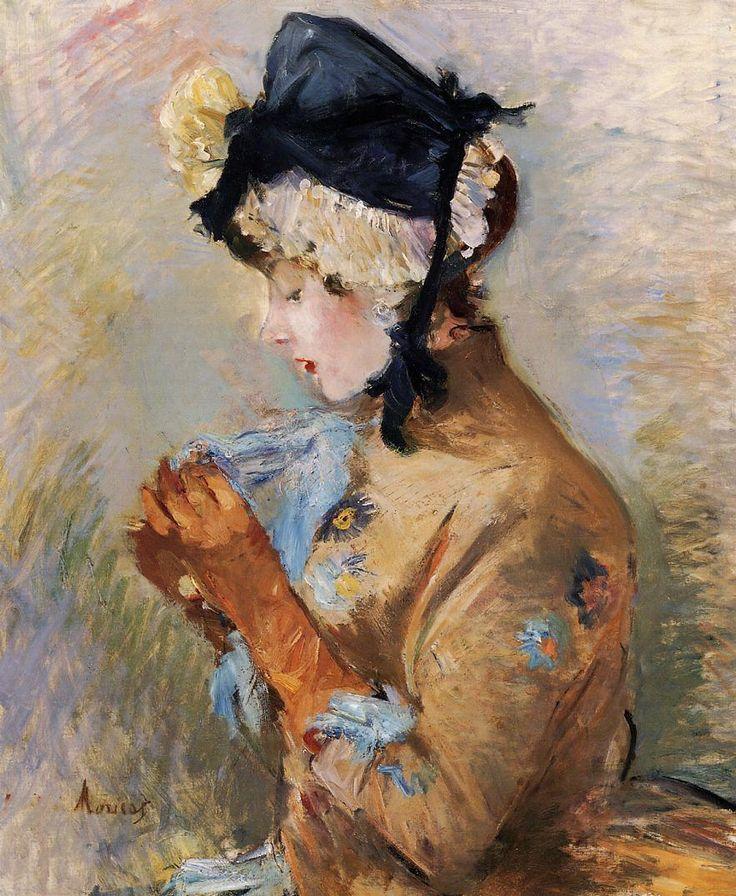 ilovetocollectart:  Berthe Morisot - Woman Wearing Gloves (a.k.a. The Parisian), 1885 (oil on canvas).