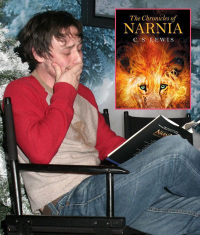 Hot Guys Reading - James McAvoy - who played Mr. Tumnus - reads the Chronicles of Narnia. And cries a little.