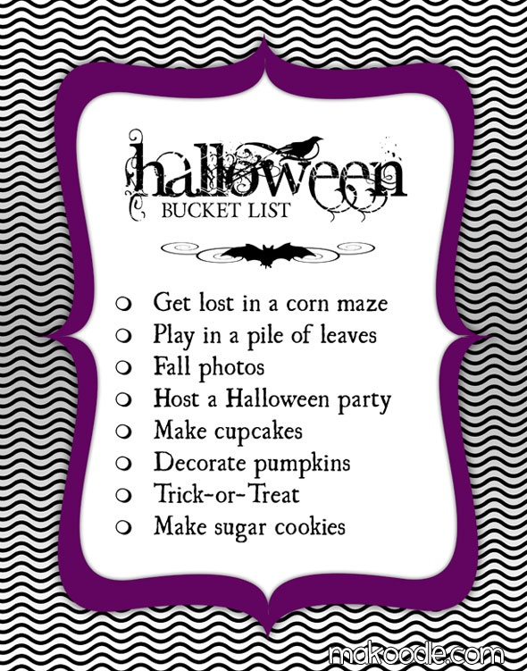 Halloween Bucket List....this is a family tradition now with the kids....every year for every season we make sure we have a bucket list!!!