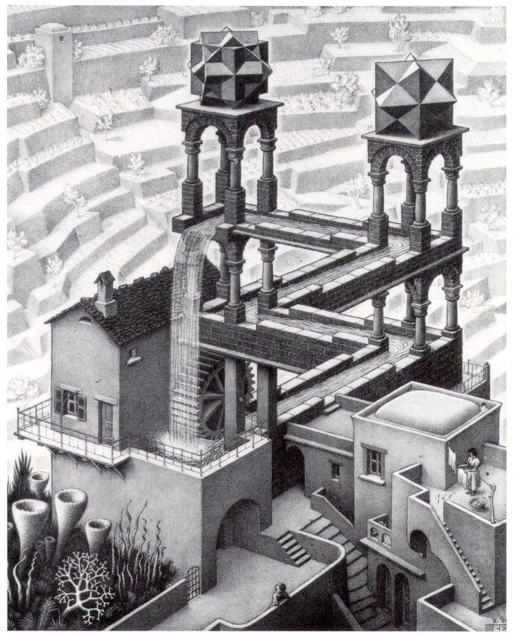 M.C. Escher - Waterfall, 1961 lithograph