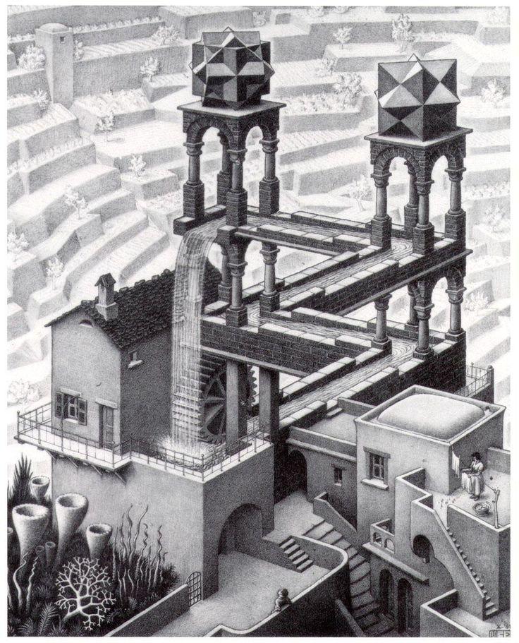 Maurits Cornelis Escher foi um artista gráfico holandês conhecido pelas suas xilogravuras, litografias e meios-tons, que tendem a representar construções impossíveis, preenchimento regular do plano…