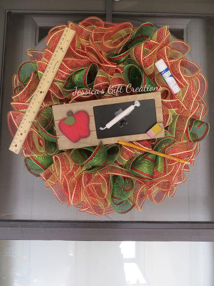 Ready to Ship Teacher Mesh Wreath/Door Wreath/Front Door/Classroom Wreath/Wall Decor/Teacher Assistant/End of School Gift/Appreciation Week by JessicasGCreations on Etsy