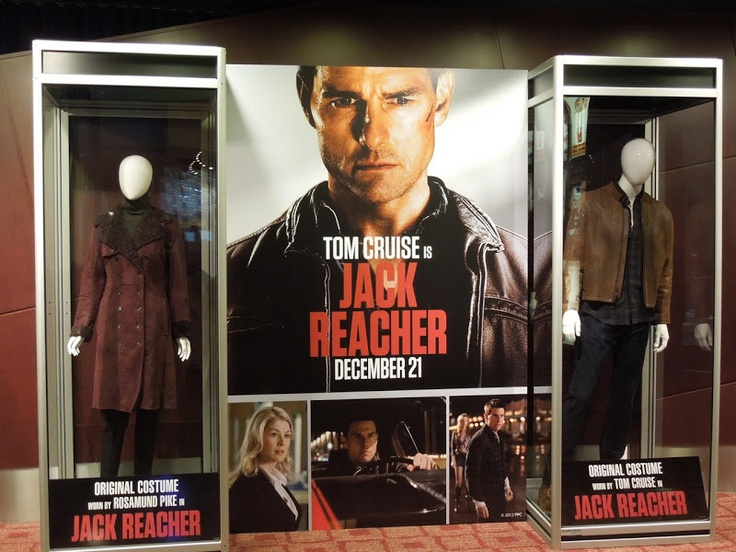 Tom Cruise and Rosamund Pike movie costumes from Jack Reacher on display...