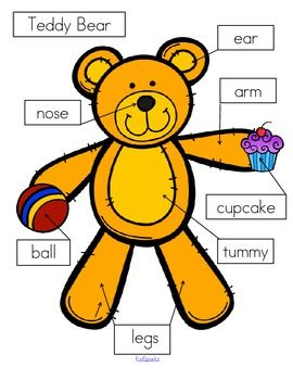 FREE  *** 3 ways to label the teddy:- cut and paste written labels on top of words; - cut and paste written labels on blank labels; - or write the words in the blank labels. Use the colored teddy to refer to. 4 pages