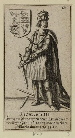 Richard III. Engraving of the kings and queens of England. A series of monarchs engraved by Johann Jakob Schollenberger during the reign of Charles II. The portraits cover monarchs from William I to Charles II, encompassing over 600 years of British rulers. Royal Collection Trust/© Her Majesty Queen Elizabeth II 2016
