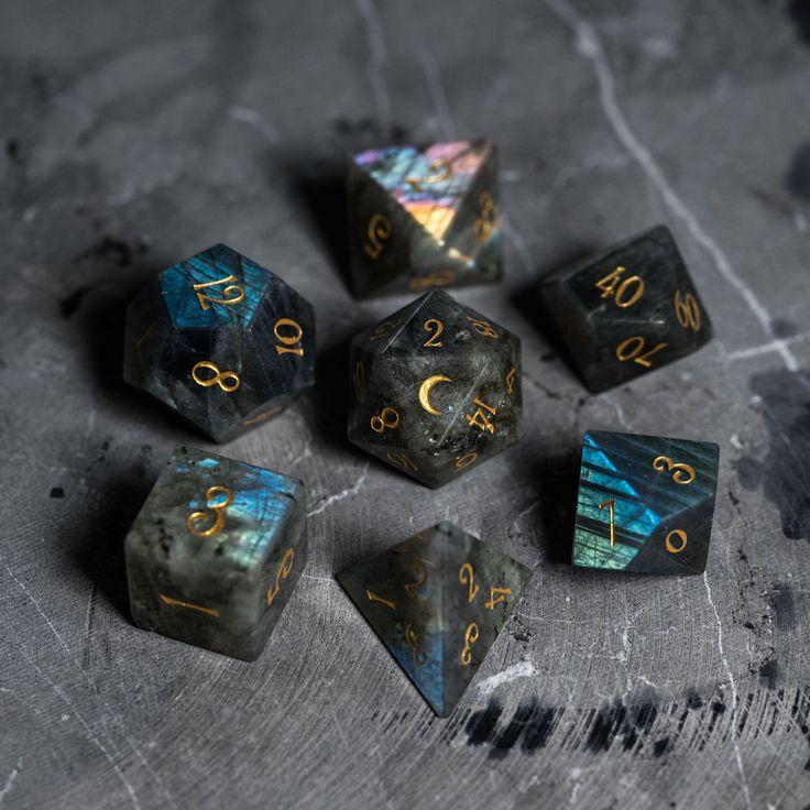 Full Set Labradorite Gemstone DnD Dice Set