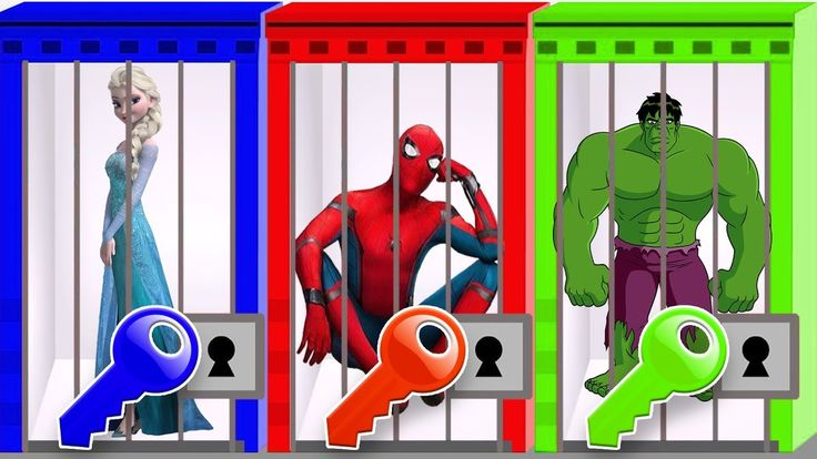 Learn Colors with Spiderman Hulk Frozen Elsa Masha and the Bear Keys