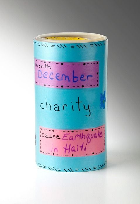 Raise money for a charity of your choice every month with a DIY changeable fundraising container