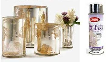 Create vintage mercury glass votives by using a spray paint called Looking Glass by Krylon