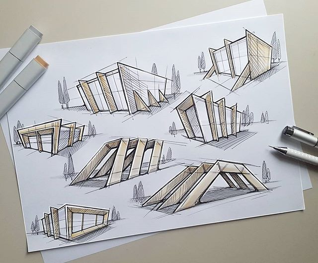 Some fast architectular exploration sketches. 😊…