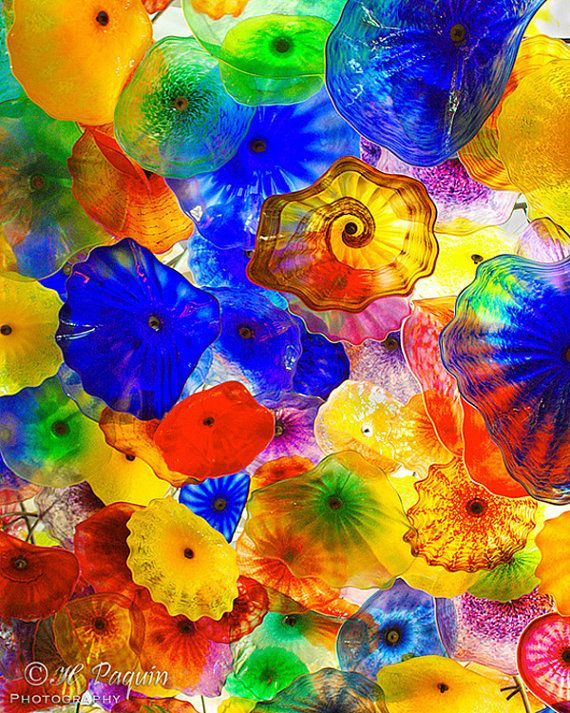 Hand-blown glass blossoms by Dale Chihuly, Bellagio Ceiling, Las Vegas, 8x10 Fine Art Photograph - Home Wall Decor - Ceiling art, Sculpture