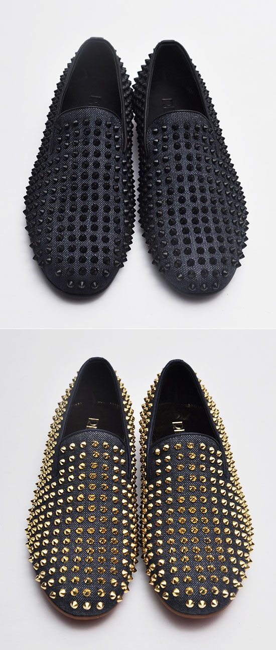Shoes :: Hand-made Denim Stud Loafer-Shoes 78 - Mens Fashion Clothing For An Attractive Guy Look