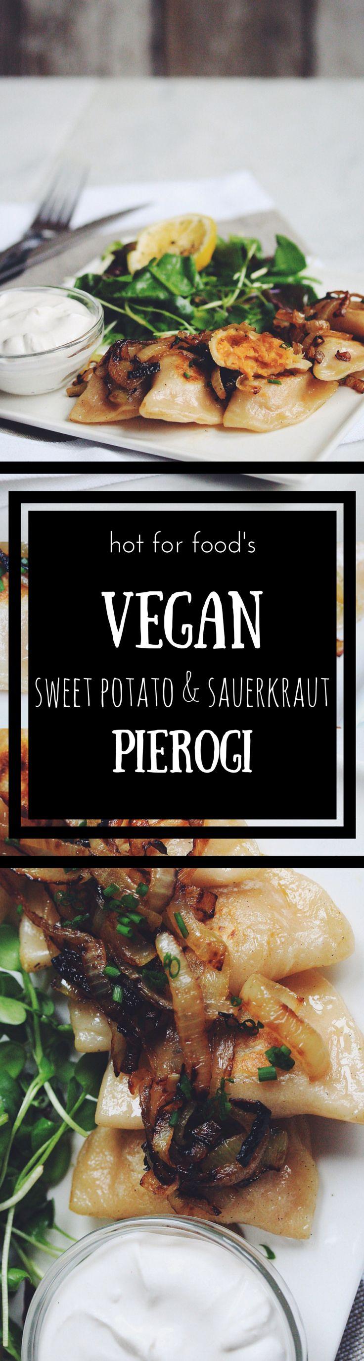 vegan sweet potato and sauerkraut pierogi RECIPE on hotforfoodblog.com