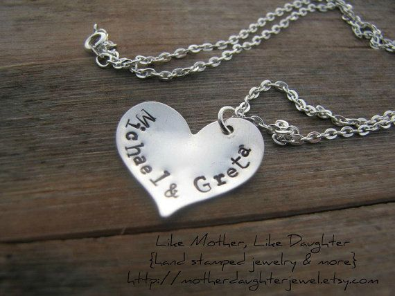 Hand Stamped SweetHeart Necklace by MotherDaughterJewel on Etsy, $40.00