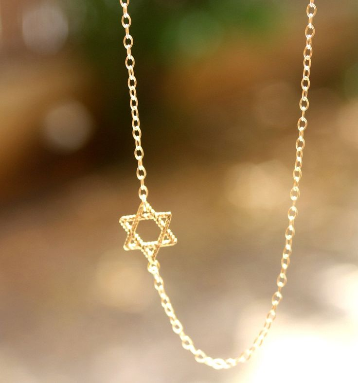 Star of David Necklace - Gold Sideways Jewish Star of David Necklace. jewish jewelry, magen david necklace.. $28.50, via Etsy.